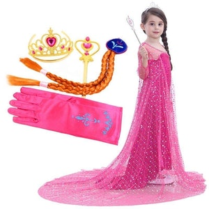 Frost Elsa Anna, klänning accessoarer barn strl.7