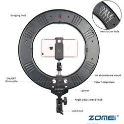 ZOMEi Studio Dimbar LED-ringbelysning
