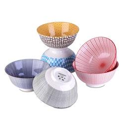 Vancasso skålar 6-delar i porslin flerfärgade