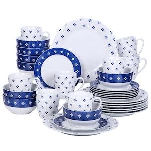 VEWEET Edwin serien, servis uppsättning 32-delar blå/vit