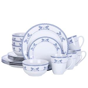 VEWEET Delia serien, servis uppsättning 16-delar blå/vit