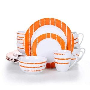 VEWEET Iona serien, servis uppsättning 16-delar Vit/orange