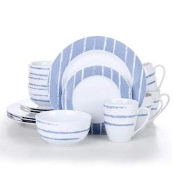 VEWEET Imani serien, servis uppsättning 16-delar Blå/vit