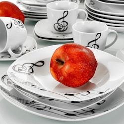 VEWEET Melody serien, servis set 60-delar svart/vit