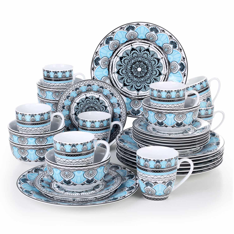 VEWEET Audrey serien, servis uppsättning 32-delar blå/vit