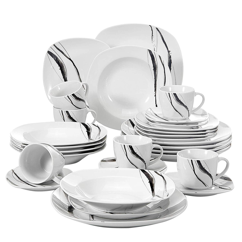 VEWEET Teresa serien, servis set 30-delar svart/vit