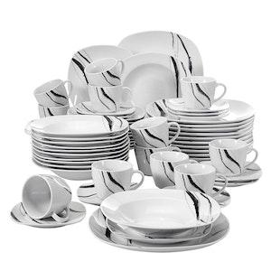 VEWEET Teresa serien, servis set 60-delar svart/vit