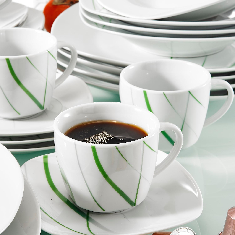 VEWEET Aviva serien, servis set 30-delar grön/vit