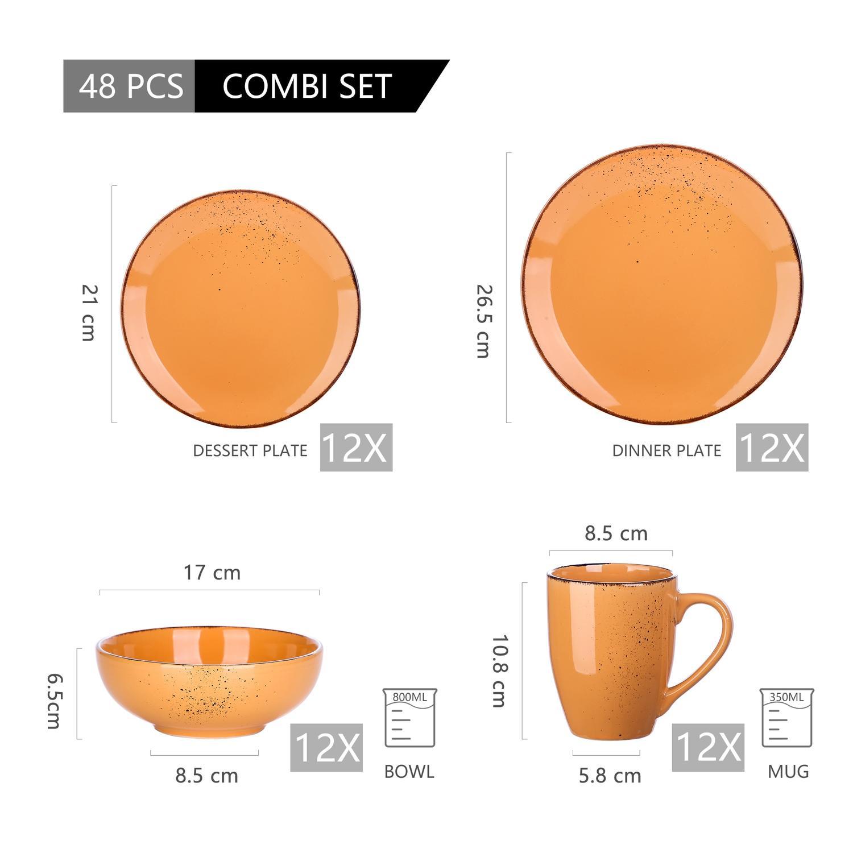 Vancasso Navia serien, servis uppsättning 48-delar orange
