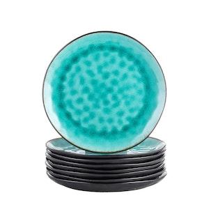 Vancasso, Aqua serien tallrik 8-delar i keramik turkos