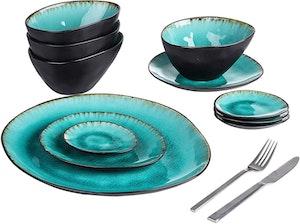 Vancasso Aqua serien, tallriks set 11-delar turkos