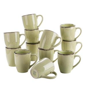 Vancasso Navia serien, mugg set 12-delar gulgrön