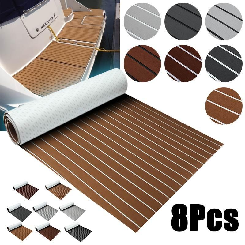 Självklistrande båtmatta med teaklook ljusgrå/vit