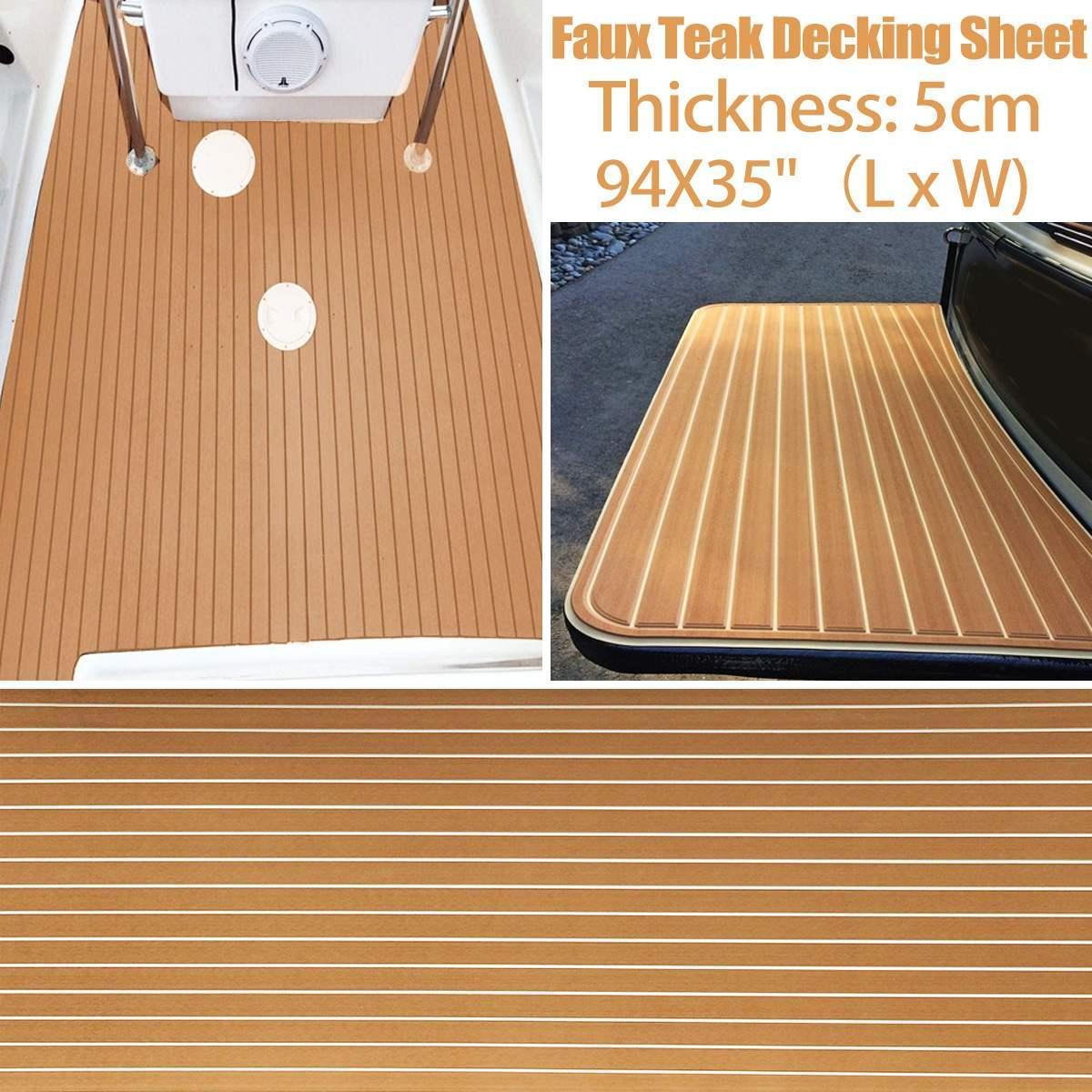 Självklistrande båtmatta med teaklook ljusgrå/svart