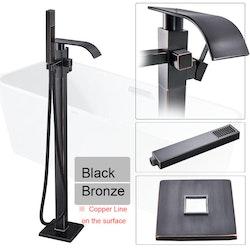 Golvmonterad badkarsblandare svart/brons
