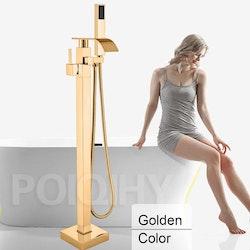 Golvmonterad badkarsblandare guld