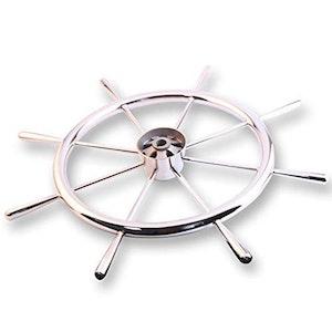 Båtratt i polerat rostfritt stål, 394 mm