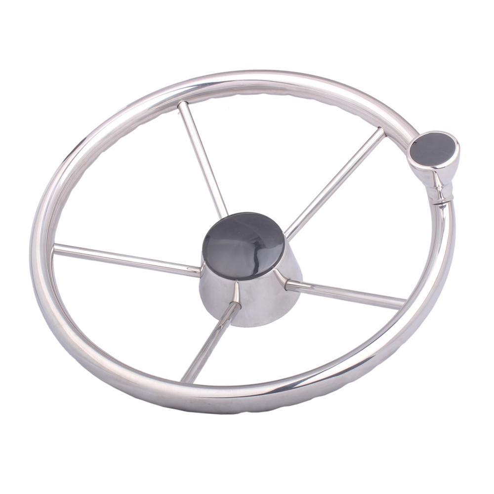 Båtratt med knopp i stål, 343 mm