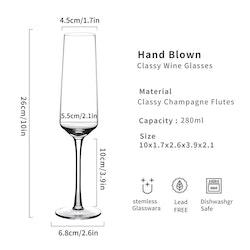 Champagneglas i 12-delar, 280ml kristall
