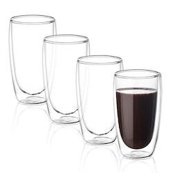 Dubbelväggade glas 400ml, 4-delar