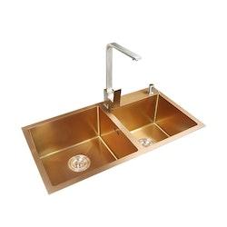Dubbel diskho i rostfritt stål guld