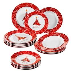 VEWEET Christmastree, tallriks set 18-delar Röd/vit
