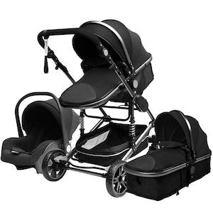 3 i 1 kombinations barnvagn med tillbehör, svart.