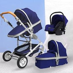 3 i 1 kombinations barnvagn med tillbehör, blå.