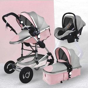 3 i 1 kombinations barnvagn med tillbehör, rosa/grå.