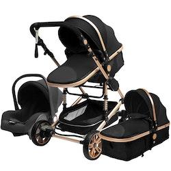 3 i 1 kombinations barnvagn med tillbehör, svart/guld.