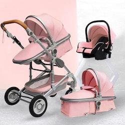 3 i 1 kombinations barnvagn med tillbehör, rosa.