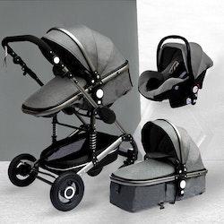 3 i 1 kombinations barnvagn med tillbehör, grå.