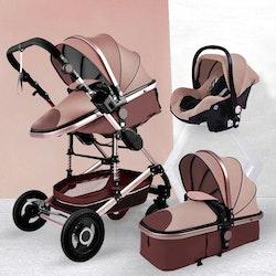 3 i 1 kombinations barnvagn med tillbehör, brun.