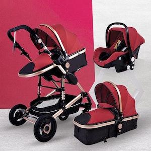 3 i 1 kombinations barnvagn med tillbehör, röd.