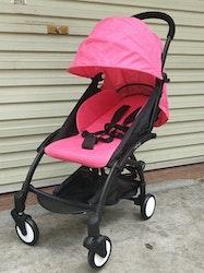 Stilren sulkyvagn med tillbehör, rosa