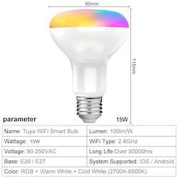 Tuya smart RGB LED-lampa, x2
