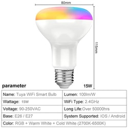 Tuya smart RGB LED-lampa, x4