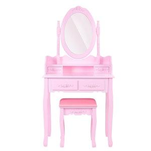 Klassiskt rosa sminkbord med matchande pall