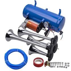 4 Trumpet Fordonsluft Horn 12V Kompressor Tubing 150 dB Tåg 120 PSI kit