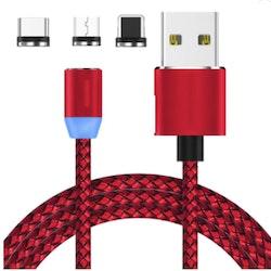 Magnetisk laddare 3-1 USB-C / Micro USB & Lightning -Röd