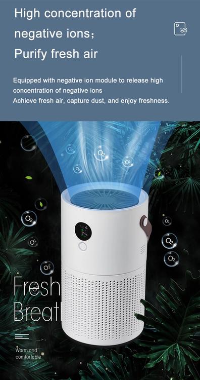 Luftrenare AP01 För hem & kontor med negativa joner, inbyggt batteri & nattlampa
