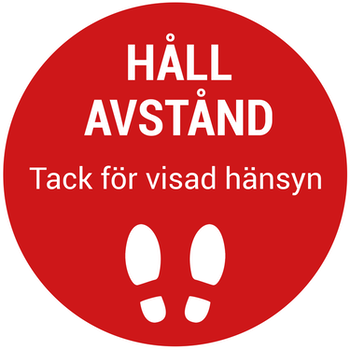 Golvdekal Röd/vit - Håll avstånd Ø20cm halksäker 5-PACK
