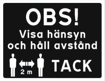 Skylt Visa hänsyn och håll avstånd 2 meter Klistermärke / Dekal