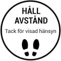 Golvdekal Vit/Svart - Håll avstånd 30cm/50cm diameter