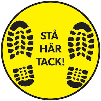 Golvdekal - Stå här tack 30cm Svart/gul