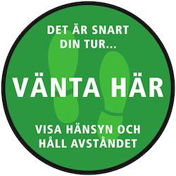 Golvdekal Rund - Vänta här 30cm Grön Vit