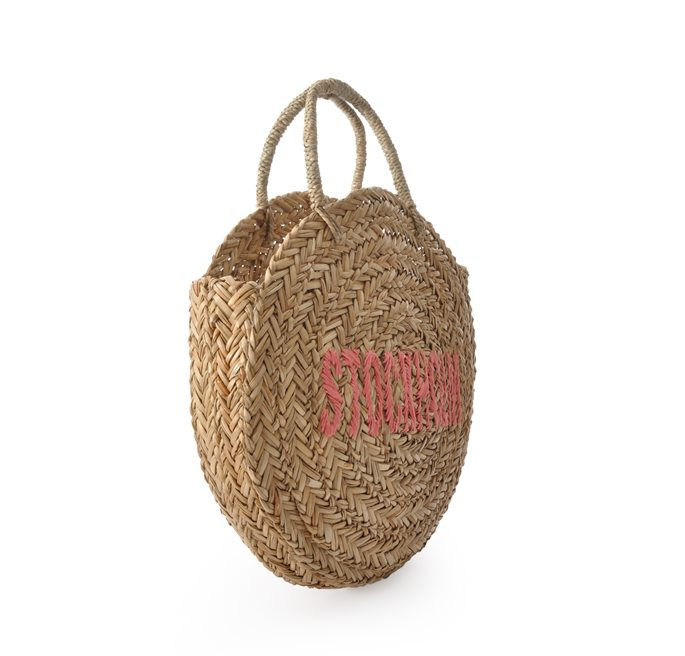 Natural/Pink Stockholm Round Straw Bag