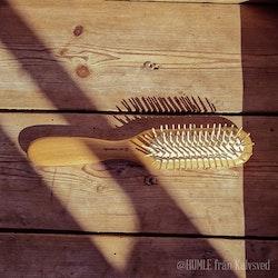 Hårborste i oljad bok med pinnar av trä