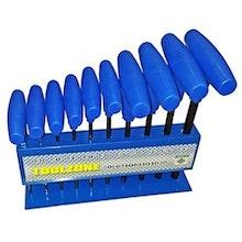 10 st Insexnycklar med T-handtag på ställ. 10 storlekar i TUM.