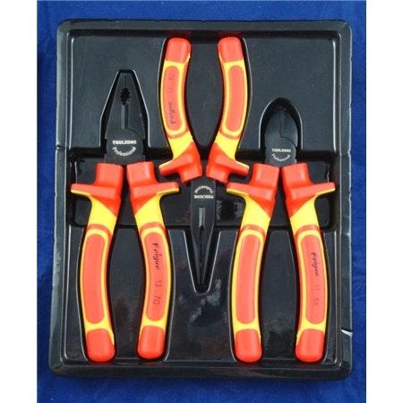 El-tänger. VDE. 3-styck. Spetstång, avbitartång och kombinationstång.